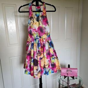Angel Biba 8 Pink Floral Sleeveless Clothes   Semi Formal Flower Summer Dress